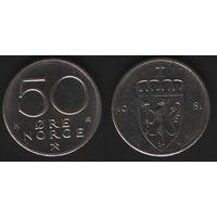 Норвегия km418 50 эре 1981 год (K) (f50)nr0(ks00)