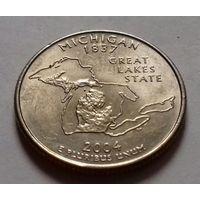 25 центов, квотер США, штат Мичиган, D