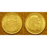 Золотая монета Бельгии 20 франков 1875 г