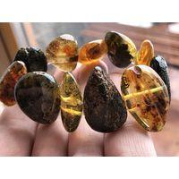 Янтарный браслет - натуральный балтийский камень- полированный -новый