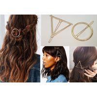 Заколки для волос металлические круг и треугольник