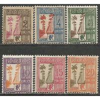 Гваделупа. Пальмовая аллея. Доплатные марки. 1928г. Mi#25-30.
