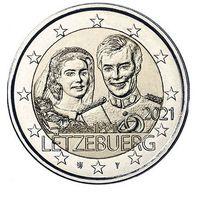 2 Евро Люксембург 2021  40 лет свадьбы Великого герцога Анри и Марии. Рельеф UNC из ролла
