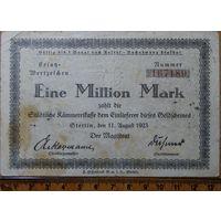 1 миллион марок 1923г. Штеттин (сегодня Щецин Польша)