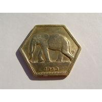 """Бельгийское Конго. 2 франка 1943 год  """"Слон"""" KM#25 Нечастая!!!"""