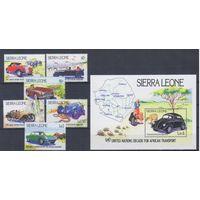 [1882] Сьерра-Леоне 1984. Транспорт.Техника.Автомобили. 6 МАРОК+БЛОК.
