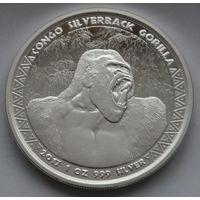 "Конго 2017 серебро (1 oz) ""Горилла"" (в капсуле)"