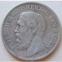 30. Германия Баден 2 марки 1876 год, серебро*