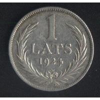 Латвия 1 лат 1924 г. Серебро. Хороший!!!