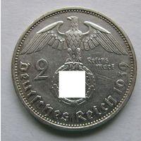 1939 г. 2 марки. A. Германия. Рейх. Серебро. #3