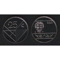 Аруба _km3 25 центов 1993 год (ba) (b06)
