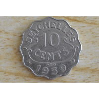 Сейшелы/Сейшельские острова/   10 центов 1939   Первый год! Редкая!