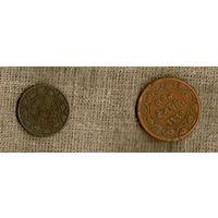 Индия княжество Барода 1 2 пайс 1891 1893 /цена за две монеты// (ON)