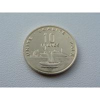 """Джибути. 10 франков. 2004 год  """"Корабль""""Порт"""" КМ#23"""