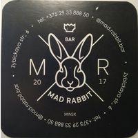 """Подставку под пиво бара """"Mad-Rabbit""""."""