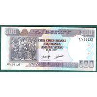 Бурунди 500 франков  2007 год UNC