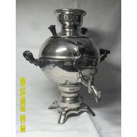 Небольшой электрический исправный никелированный самовар, форма - шарик. СССР. Середина прошлого века.