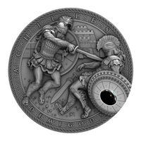 "RARE Ниуэ 2 доллара 2017г. ""Ахиллес"". Монета в капсуле; подарочном футляре; сертификат + номер монеты на гурте; коробка. СЕРЕБРО 62,20гр.(2 oz)."