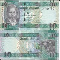 Южный Судан 10 фунтов образца 2016 года UNC p12b