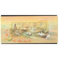 Казахстан Кошка суслик дрофа чайка пеликаны 2001 год чистый полный блок из 6-ти марок
