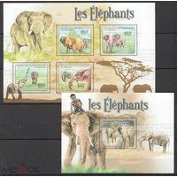 2011 Центрально-Африканская Республика Фауна млекопитающие слоны  KB + BL MNH