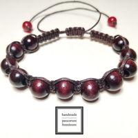 """Браслет шамбала """"Темная вишня"""" с натуральным камнем (кварц) и деревянными бусинами"""