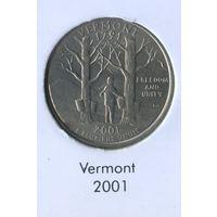 25 центов США 2001 г. штат Вермонт D