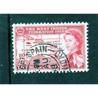 Тринидад и Тобаго. Ми-171. Федерация Вест-Индии. Карта и Королева Елизавета II.1958.