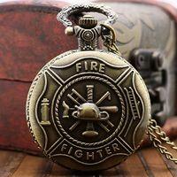 Часы карманные - подвеска, на цепочке, под бронзу с пожарной символикой. распродажа