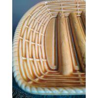 Блюдо поднос тарелка для спаржевой фасоли майолика марки SARREGUEMINES Франция 20-30 гг. прошлого века клеймо