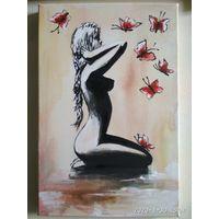 """Девушка с бабочками"""""""