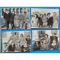 Фотосессия группы молодежи СССР. Новосибирск. 1949 г. 9х12 см. 4 фото Цена за все.