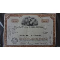 Акция Американской компании MARLENNAN CORPORATION 1969г