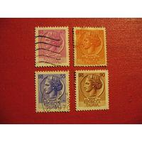 """Марка """"Сиракузская монета"""" 1953 - 1969 года Италия"""