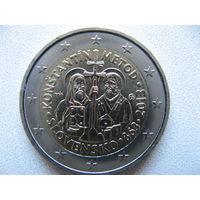 Словакия 2 евро 2013г. 1150 лет миссии Кирилла и Мефодия в Великой Моравии. (юбилейная) UNC!