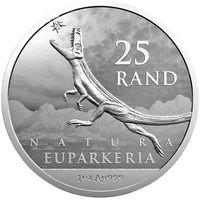 "ЮАР 25 рэндов 2019г. ""Динозавр Эупаркерия"". Монета в капсуле; буклете - сертификате. СЕРЕБРО 31,10гр.(1 oz).Шв"