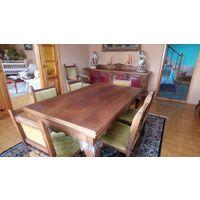 Раскладной стол и комплект антикварных стульев