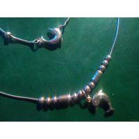 Колье и браслет с дельфинами комплект