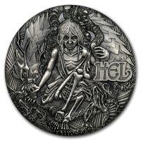 "Тувалу 2 доллара 2017г. ""Богиня Хель"". Монета в деревянном подарочном футляре; номерной сертификат; коробка. СЕРЕБРО 62,213гр.(2 oz)."