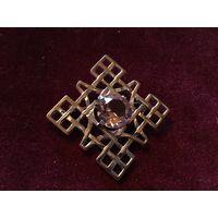 Брошь Геометрия Шотландия Аметистовое стекло Серебрение 60-е гг клеймо C.J.