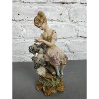 Статуэтка девушка с пуделем фарфоровая статуэтка дама с собакой Capodimonte Италия Бисквит Роспись