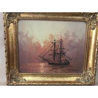 Старинная картина маслом на холсте Позолоченная рамка 28x33 C Рубля!