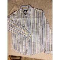 Брендовая рубашка Cerrutti Jeans на 52-54 размер примерно. Ориентируйтесь на замеры: длина 80 см, длина рукава 67 см, ПОгруди 60 см. 100% хлопок. Отличное состояние, интересная модель.  Посмотреть мож