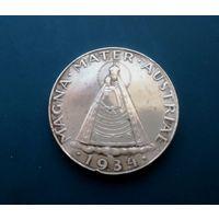 Австрия 5 шиллингов 1934 г. (Австрийская Мадонна) серебро