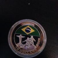 UC#358 10 долларов Либерия 2005 г Футбольный ЧМ