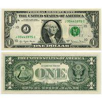 США. 1 доллар (образца 1977 года, 1977A, J, Миссури (Канзас Сити), P462b, UNC)