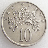Ямайка, 10 центов 1977 года, растения, KM#47
