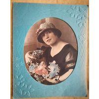 Фото женщины 1930-е. Минск? 24х29 см. Старое паспарту.