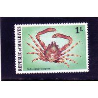 Мальдивы.Ми-780. Серия:Мальдивские крабы и лобстеры.(Schizophrys aspera).1978.