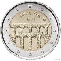 2 евро 2016 Испания Старинный город Сеговия с римским акведуком UNC из ролла
